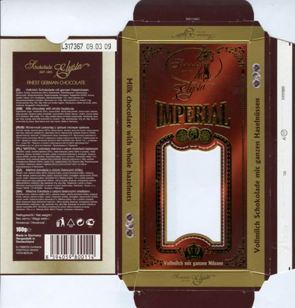 Imperial, milk chocolate with whole hazelnuts, 100g, 09.03.2008, Elysia, Elysberg Confiserie, Berlin, Germany