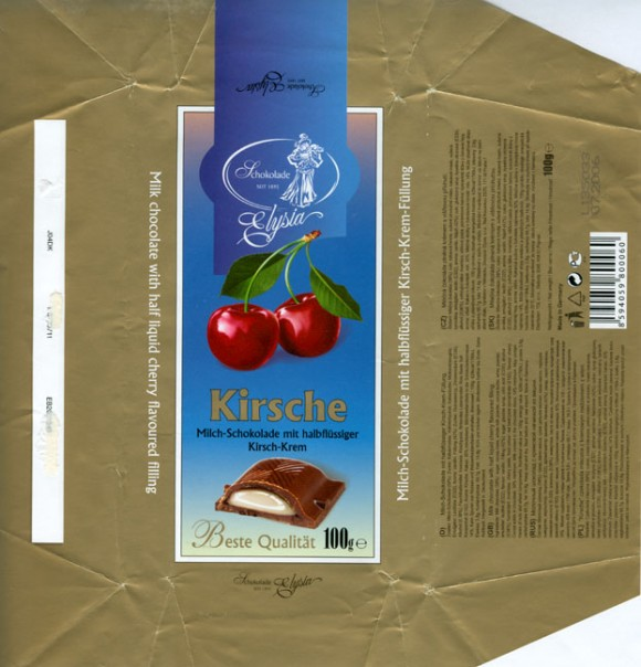 Kirsche, milk chocolate with half liquid cherry flavoured filling, 100g, 07.2005, Elysia, Elysberg Confiserie, Berlin, Germany