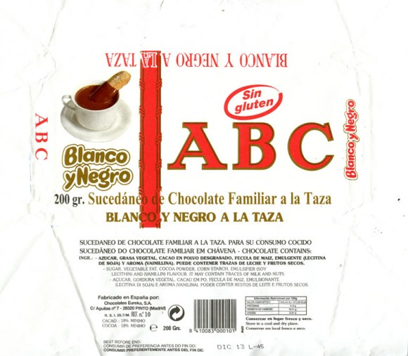 ABC, Blanco y Negro, 200g, 12.2012, Chocolates Eureka S.A., Pinto (Madrid), Spain