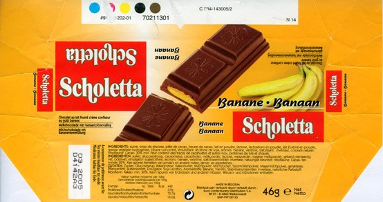 Scholetta, filled milk chocolate with banana flavoured fondant, 46g, 03.2004, Euro Confectionery Distribution S.A, Belgium