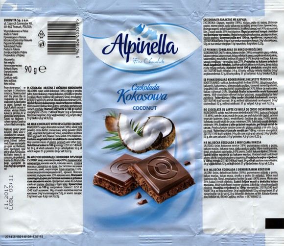 Milk chocolate with desiccated coconut, 90g, 11.2016, Eurovita Sp. z o.o., Poznan, Poland