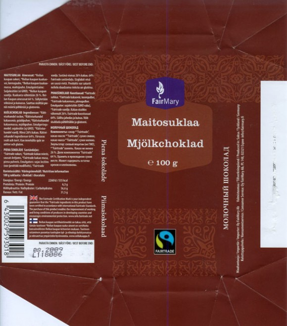 Milk chocolate, 100g, 08.2008, Fairtrade, made in Germany for FairMary Oy, Espoo, Finland