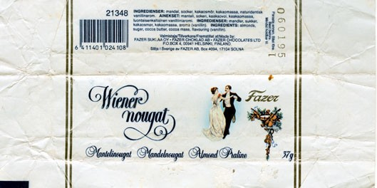Wiener nougat, milk chocolate with almonds, 37g,06.01.1994