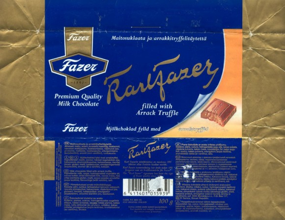 Karlfazer,milk chocolate filled with arrack truffle, 100g, 16.01.1995