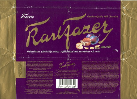 Karlfazer, milk chocolate with hazelnuts and raisins, 170g, 02.05.1996