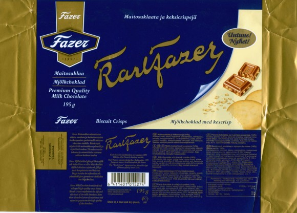 Karlfazer, milk chocolate with biscuit crumbs, 195g, 19.08.2004