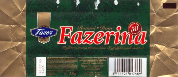 Fazerina, milk chocolate with rom filled, 38g, 15.07.2004