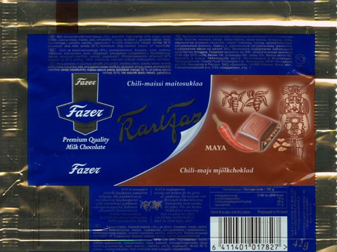 KarlFazer, Maya, milk chocolate with corn flakes and chili, 42g, 26.11.2004, 