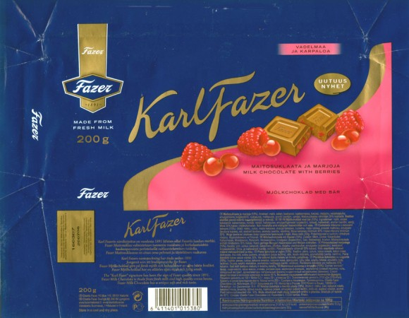 Milk chocolate with berries, 200g, 19.07.2006, Cloetta Fazer Chocolate Ltd, Helsinki, Finland