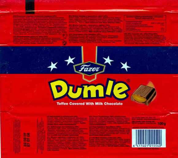 Dumle, milk chocolate with toffee filling 36%, 100g, 27.07.2006, Cloetta Fazer Chocolate Ltd, Helsinki, Finland