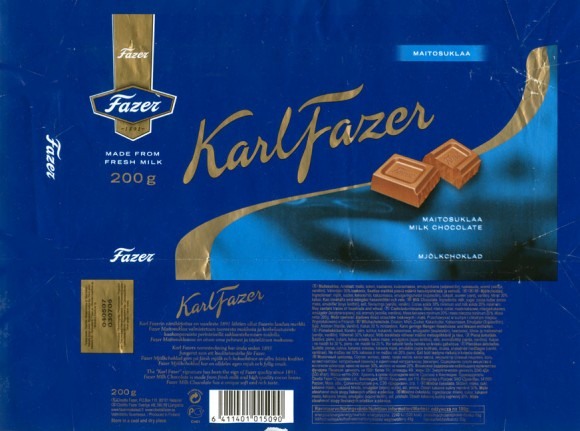 KarlFazer, milk chocolate, 200g, 03.07.2006, Cloetta Fazer Chocolate Ltd, Helsinki, Finland