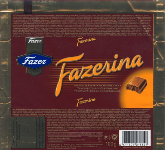 Fazerina, milk chocolate with orange flavoured truffle filling (40%), 100g, 12.10.2006, Cloetta Fazer Chocolate Ltd, Helsinki, Finland