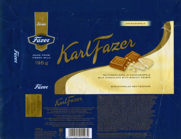 KarlFazer, milk chocolate with biscuit crisps, 195g, 23.01.2006, Cloetta Fazer Chocolate Ltd, Helsinki, Finland