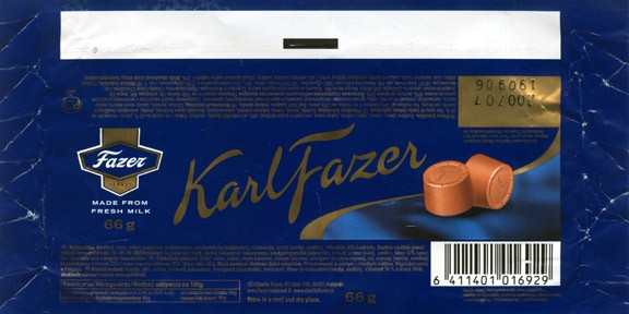 KarlFazer, milk chocolate, 66g, 19.09.2006, Cloetta Fazer Chocolate Ltd, Helsinki, Finland