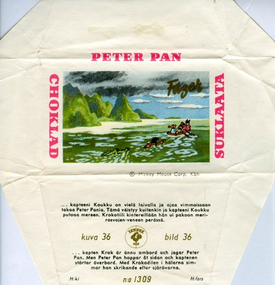 Peter Pan, milk chocolate, about 1950, Fazer, Helsinki, Finland