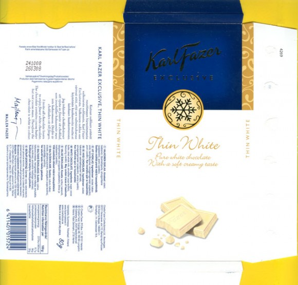 KarlFazer exclusive, white chocolate, 80g, 26.03.2008, Cloetta Fazer Chocolate Ltd, Helsinki, Finland, Made in Sweden