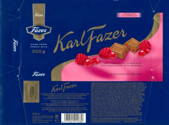 KarlFazer, milk chocolate with berries, 200g, 27.05.2008, Cloetta Fazer Chocolate Ltd, Helsinki, Finland