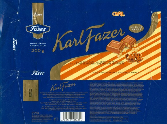 KarlFazer, milk chocolate with creamy toffee pieces, 200g, 22.07.2008, Cloetta Fazer Chocolate Ltd, Helsinki, Finland