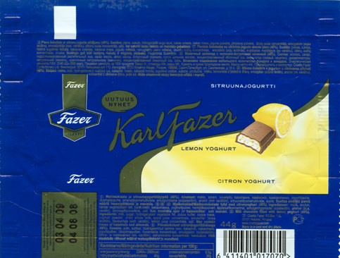 KarlFazer, milk chocolate with lemon and yoghurt praline, 44g, 04.08.2008 Cloetta Fazer Chocolate Ltd, Helsinki, Finland