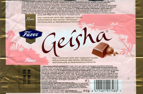 Geisha, milk chocolate with soft hazelnut filling, 44g, 10.06.2008, Cloetta Fazer Chocolate Ltd, Helsinki, Finland