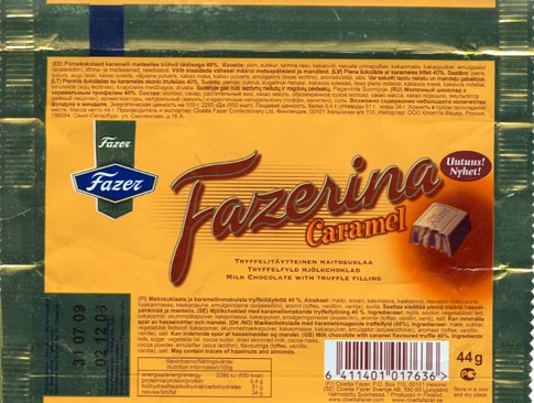 Fazerina, milk chocolate with truffle filling, 44g, 03.12.2008, Cloetta Fazer Chocolate Ltd, Helsinki, Finland