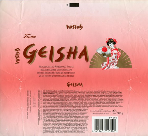 Geisha, milk chocolate with soft hazelnut filling, 100g, 09.01.1998, Fazer Chocolates Ltd, Helsinki, Finland