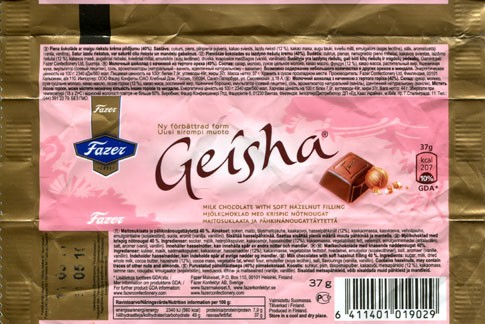 Geisha, milk chocolate with soft hazelnut filling, 37g, 11.05.2010, Fazer Makeiset, Helsinki, Finland