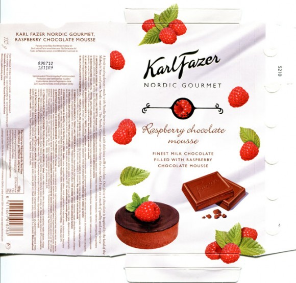 "Karl Fazer Nordic Gourmet: ""A fresh-tasting dessert made with Nordic berries coated with delicious milk chocolate.It is inspired by the land of the Midnight Sun and pure Nordic nature.milk chocolate with raspberry, 115g, 12.11.2009, Fazer, Helsinki,"