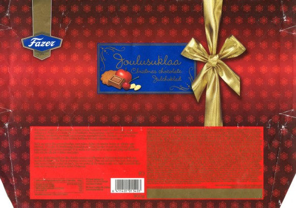 Joulusuklaa, Christmas chocolate, spicy milk chocolate with fruit, ginger bread snaps and almonds, 300g, Fazer Makeiset, Helsinki, Finland