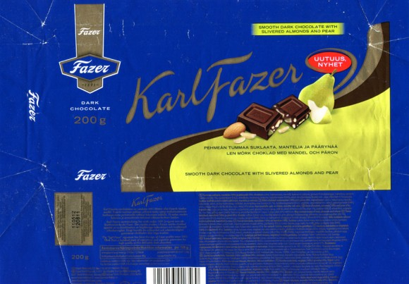 Karl Fazer smooth dark chocolate with slivered almonds and pear, 200g, 09.09.2011, Fazer Makeiset, Helsinki, Finland