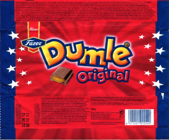 Dumle original, milk chocolate with toffee filling, 100g, 14.11.2011, Fazer Makeiset, Helsinki, Finland