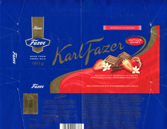 Karl Fazer, milk chocolate with strawberries and vanilla, 200g, 23.04.2012, Fazer Makeiset, Helsinki, Finland