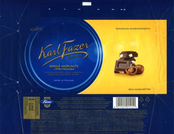 Milk chocolate with whole hazelnuts, 200g, 27.02.2013, Fazer Makeiset, Helsinki, Finland