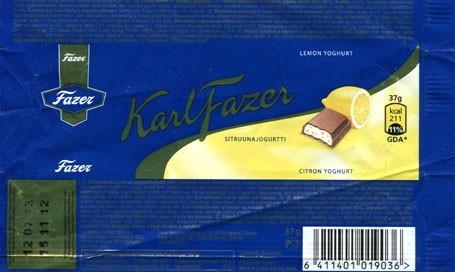 Milk chocolate filled with lemon yoghurt, 37g, 15.11.2012, Fazer Makeiset, Helsinki, Finland
