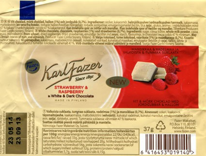 White chocolate, chocolate, raspberries and strawberries, 37g, 23.09.2013, Fazer Makeiset, Helsinki, Finland