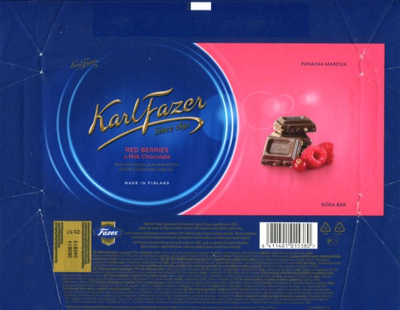 KarlFazer milk chocolate with berries, 200g, 04.09.2013, Fazer Makeiset, Helsinki, Finland