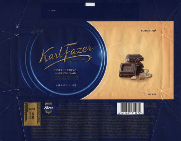 KarlFazer milk chocolate with biscuit crisps, 195g, 01.04.2014, Fazer Makeiset, Helsinki, Finland
