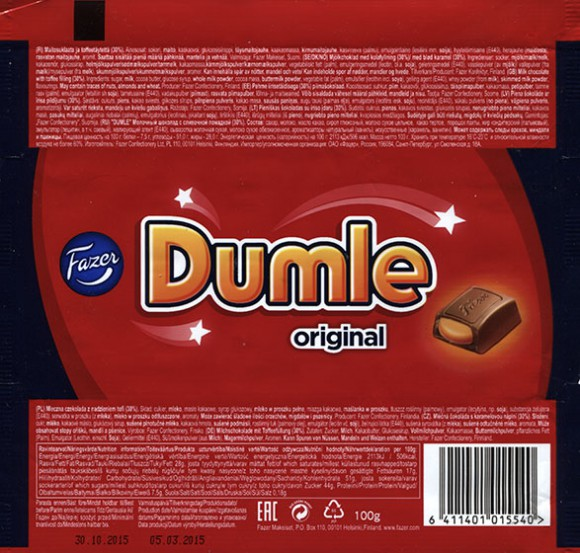 Dumle, milk chocolate with toffee filling, 100g, 05.03.2015, Fazer Makeiset oy, Helsinki, Finland