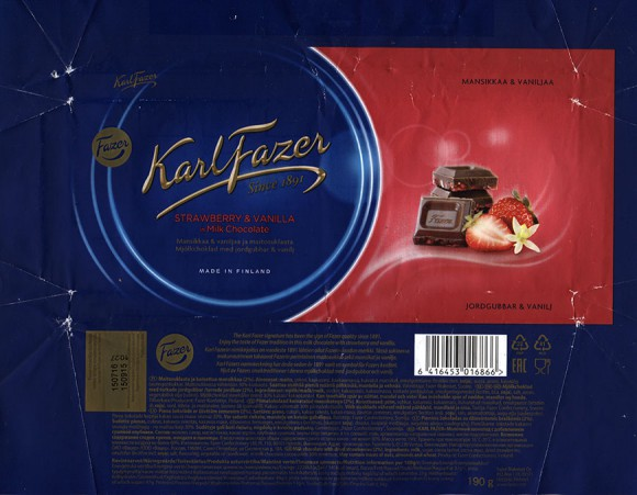 KarlFazer Since 1891, milk chocolate with strawberry and vanilla, 190g, 15.09.2015, Fazer Makeiset oy, Helsinki, Finland