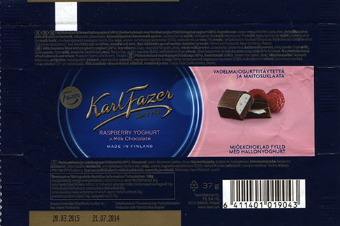 Milk chocolate filled with raspberry yoghurt, 37g, 21.07.2014, Fazer Makeiset oy, Helsinki, Finland