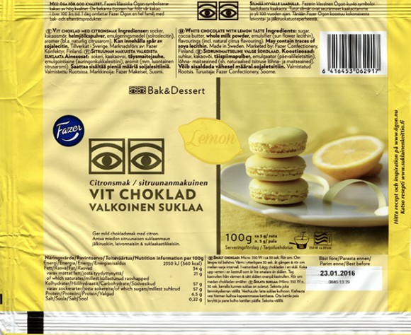 White chocolate with lemon taste, 100g, 23.01.2015, 100g, 24.03.2015, Fazer Makeiset oy, Helsinki, Finland