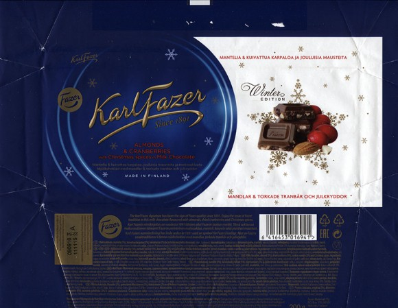 Milk chocolate, almonds, dried cranberry, cookie crumble and Christmas spices, 200g, 11.11.2015, Fazer Makeiset oy, Helsinki, Finland