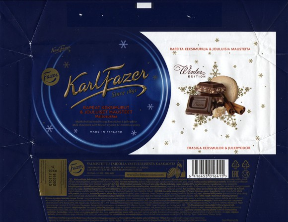 Milk chocolate, biscuit crumble and Christmas spices, 200g, 09.09.2016, Fazer Makeiset oy, Helsinki, Finland