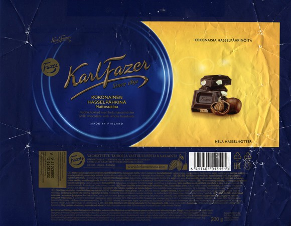 Milk chocolate with whole hazelnuts, 200g, 09.05.2017, Fazer Makeiset oy, Helsinki, Finland