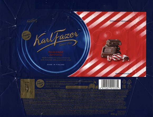 Milk chocolate with peppermint crisps, 200g, 09.08.2017, Fazer Makeiset oy, Helsinki, Finland