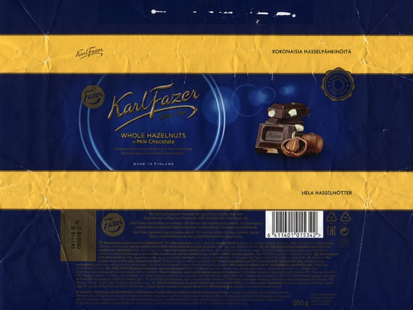 Milk chocolate with whole hazelnuts, 250g, 08.03.2016, Fazer Makeiset oy, Helsinki, Finland