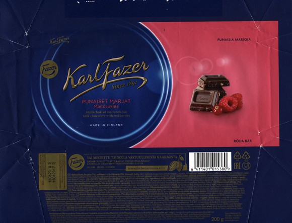 Milk chocolate with red berries, 200g, 15.08.2017, Fazer Makeiset oy, Helsinki, Finland