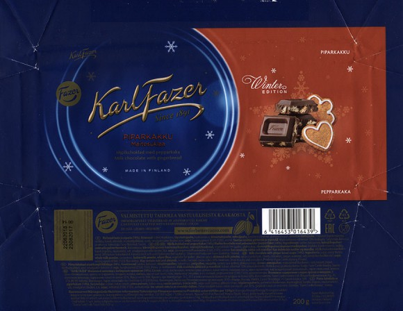 Winter edition, milk chocolate with gingerbread, 200g, 23.08.2017, Fazer Makeiset oy, Helsinki, Finland