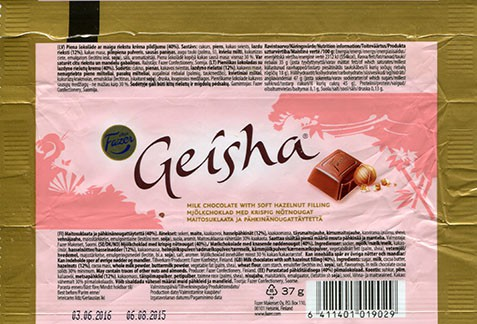 Geisha, milk chocolate with soft hazelnut filling, 37g, 06.08.2015, Fazer Makeiset oy, Helsinki, Finland