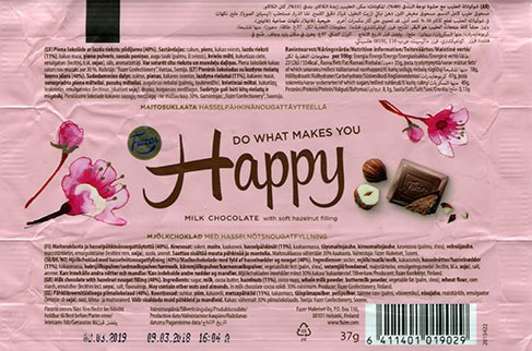 Do what makes you happy, milk chocolate with soft hazelnut filing, 37g, 09.03.2018, Fazer Makeiset oy, Helsinki, Finland